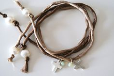 Silk & Cross Bracelet by bohemejoyas