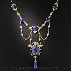Egyptian Revival Lapis and Seed Pearl Necklace