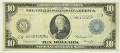 1914 Ten Dollar 10 Bill Federal Reserve Bank of New York Note Blue Seal F-909