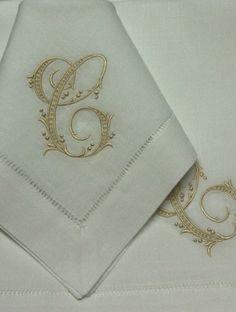 """Bella Lino Monogrammed Linen Napkins - 22"""" Hemstitch Linen Napkins - Gigi"""
