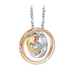 Qianse I Love You Mom Engraved Trinity Ring Pendant Necklace with Swarovski Crystal >>> Click on the image for additional details.