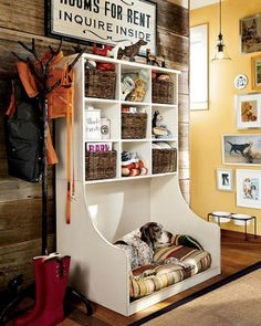 Our mudroom has turned into a dog room, with a doggy door, bed, feeding area. This would make it look nicer and lots of handy storage for doggy stuff. Cubbies, Diy Pour Chien, Diy Dog Bed, Large Dog Bed Diy, Dog Rooms, Rooms For Dogs, My Dream Home, Dream Barn, Sweet Home