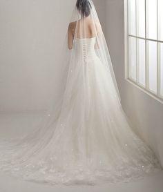 Custom listing - Soft Bridal illusion Tulle Veil, Chapel Length Wedding Veil, Ivory Sheer Drop Veil hair accessories on Etsy, £40.00