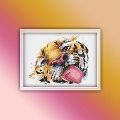 Tiger Cross Stitch Pattern 7 Instant PDF Download - Tiger Watercolor Cross Stitch Pattern - Animal Cross Stitch Pattern Booby Bird, Deer Crossing, Watercolor Horse, Extra Fabric, Tiger, Beautiful Patterns, Color Change, Cross Stitch Patterns, Free Images