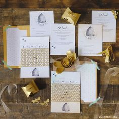 Browse our stunning paper goods and wedding invitation suites, including these honey bee wedding invitations with an elegant but playfully sweet look!