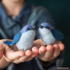 DIY: needle felted bluebird