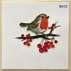 Bird and Flower Bird Cards/Bird Quilling Cards Arte Quilling, Paper Quilling Cards, Paper Quilling Patterns, Quilled Paper Art, Origami And Quilling, Quilling Paper Craft, Paper Crafts Origami, Quilling Birthday Cards, Paper Quilling Flowers