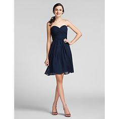 Knee-length Chiffon Bridesmaid Dress - Dark Navy Plus Sizes / Petite Sheath/Column Sweetheart – USD $ 69.99