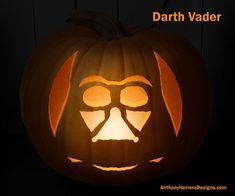 These are the Star Wars themed pumpkin carving patterns created by Anthony Herrera (who you may recall also releases Star Wars paper snowflake designs every year). You can download your favorite template at Anthony's website HERE. Then you just...