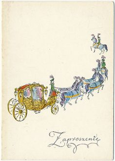 Balicka - Fribes Zaproszenie  kareta  konie Old Postcards, Poland, Illustrations, Weddings, Art, Art Background, Kunst, Illustration, Performing Arts