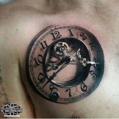 Clock gears tattoo in style. Badass Tattoos, Body Art Tattoos, New Tattoos, Cool Tattoos, Old Clock Tattoo, Clock Tattoo Design, Tattoo Sleeve Designs, Sleeve Tattoos, Tattoo Sketches