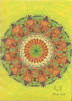 MANDALA: Geel; tulp, vogel, lotus, Ganesha(Mashika)