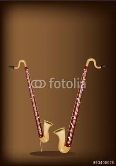Vektor: A Musical Bass Clarinet on Dark Brown Background