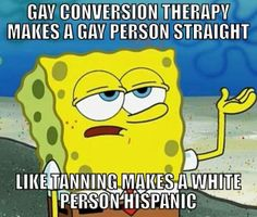 Gay conversion therapy makes a gay person straight like tanning makes a white person hispanic