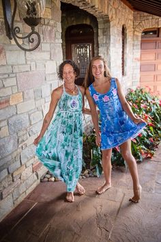Mother Daughter models in my hand painted dresses from Kaua'i Hawaii