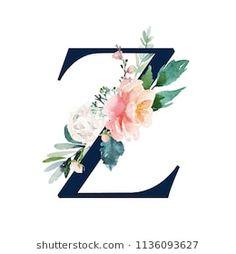 Floral Alphabet – navy color letter Z with flowers bouquet composition. Unique c… Floral Alphabet – navy color letter Z with flowers bouquet composition. Unique collection for wedding invites decoration and many other concept ideas. Z Wallpaper, Wallpaper Backgrounds, Monogram Wallpaper, Floral Letters, Monogram Letters, Alphabet Letters, Logo Mano, Alphabet Drawing, Paint Font