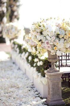 Flower pedestals, petal aisle