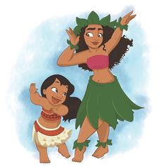 Lilo and Moana 〖 Disney Lilo and Stitch Moana hula girls 〗 Disney Pixar, Walt Disney, Moana Disney, Disney Films, Cute Disney, Disney And Dreamworks, Disney Cartoons, Disney Animation, Disney Magic