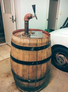 Wine barrel beer tap tower