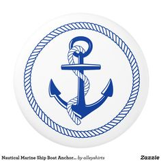 Shop Nautical Boat Ship Anchor Blue White Custom Color Button Covers created by alleyshirts. Knobs And Handles, Knobs And Pulls, Pool Drawing, Anchor Drawings, Sailing Theme, Circle Borders, Ship Anchor, Nautical Marine, Ceramic Knobs