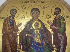 Icon from Kykkos Monastery in Cyprus. It shows of St. Anna , the Virgin Mary, and the Baby Jesus. It also shows the Men of Family - St. Joachim and St. Religious Images, Religious Icons, Religious Art, Raphael Angel, Archangel Raphael, Santa Ana, Christian Religions, Byzantine Icons, Holy Mary