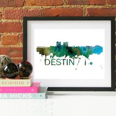 Destin Watercolor Skyline Destin Skyline Destin Art Destin Florida Destin Gift Destin Beach Destin Print Cityscape Art, Skyline Art, Watercolor Map, Watercolor Animals, Destin Florida, Couple Gifts For Her, Grandparent Gifts, Baby Nursery Decor, Just For You