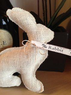 Shabby Chic Easter Rabbit --  Stuffed Burlap Bunny. $15.00, via Etsy.