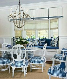 Adorable checkered slipcovered breakfast dining chairs