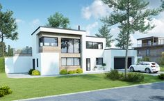 Kataloghus U- 370 moderne bolig på to plan med garasje! Atrium House, Home Fashion, Exterior, Mansions, House Styles, Houses, Porn, Garage, Future