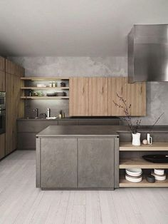 Modern Kitchen 45 Elegant Contemporary High-End Natural Wood Kitchen Designs Grey Kitchen Designs, Contemporary Kitchen Design, Interior Design Kitchen, Modern Contemporary, Modern Interior, Modern Kitchen Cabinets, New Kitchen, Kitchen Decor, Kitchen Ideas