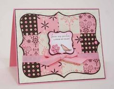 patchwork pink Top Note card