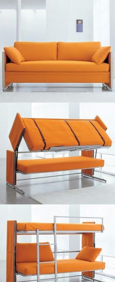 Made by Resource Furniture, the clever living room rig looks like an ordinary sofa at first glance. Lift up the parts, however, and you end up with an impressive double-decker, complete with separate mattresses, safety rails and a built-in ladder. Perfect for guest/office space. A teenagers dream. No bed to make, just a sleeping bag.