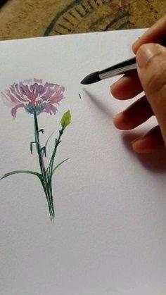 Watercolor Paintings For Beginners, Watercolor Art Lessons, Watercolor Video, Watercolor Projects, Watercolor Drawing, Watercolor Illustration, Floral Watercolor, Watercolor Flowers Tutorial, Art Drawings