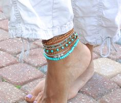 Boho Leather Triple Wrap ANKLET - Pick SIZE / COLOR - Distressed Leather and Chain / Turquoise Czech Gypsy Bohemian Wrap Bracelet - 999 on Etsy, $49.00