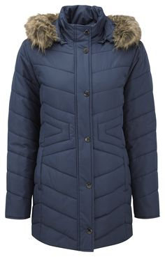 Damart navy climatyl guilted parka, product code B565. www.damart.co.uk