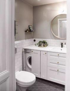 32 Inexpensive Tiny Laundry Room Design Ideas - Common Decorating for a Fresh Look Tiny Laundry Rooms, Laundry Room Bathroom, Upstairs Bathrooms, Laundry Room Design, Downstairs Bathroom, Bathroom Design Small, Bathroom Interior Design, Kitchen Design, Garden Bathroom