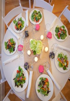 Delicious and beautifully presented salads to be begin an OBX reception. Julie Dreelin's Beach Productions http://www.outerbanksweddingassoc.org/membersearch/memberpage.html?MID=1872=Videographers=21 #salads #obxwedding #pink #green #burlap