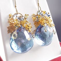 Custom Made to Order - Yellow Sapphire and Blue Quartz Earrings with Topaz