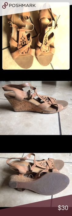 "Clarks Tan Wedge Sandals size 9 Beautiful and very comfortable wedge sandals from Clark. Soft leather material, 3"" cork heel height, they are in great condition and have nice details that makes them good to wear both casual and formal. Clarks Shoes Sandals"