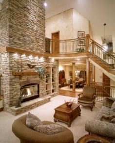 Nice I want a big open room with an open staircase and a fabulous fireplace! The post I want a big open room with an open staircase and a fabulous fireplace! Style At Home, Open Staircase, Home Photo, House Goals, Design Case, Loft Design, Modern Design, Home Living Room, Living Area