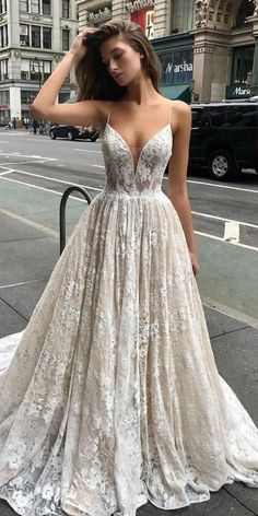 spring wedding dresses a line with spaghetti straps lace champagne outdoor enzoani What are features wedding dresses with architectural details? Spring wedding dresses have strict, geometric shape and laconic minimalism in details. Top Wedding Dresses, Wedding Dress Trends, Bridal Dresses, Wedding Gowns, Bridesmaid Dresses, Prom Dresses, Lace Wedding, Spring Dresses, Rustic Wedding