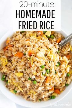 One of my favorite ways to use up leftover rice is to make Chinese fried rice. It's super easy, flavorful and comes together in just 20 minutes. #rice #friedrice #chinese #chinesefood #chineserecipes #takeout #takeoutrecipes #easyrecipes #easydinner #dinner #dinnerideas #recipes #iheartnaptime