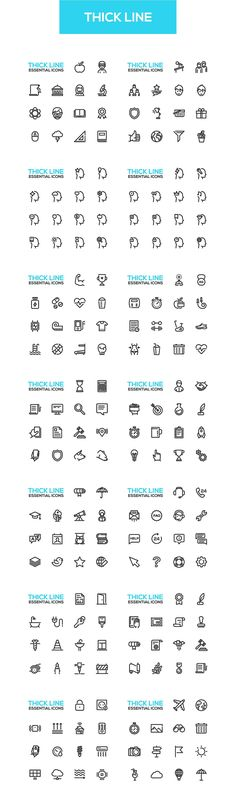 360+ Thick Line Design Icons Bundle by Decorwith.me Shop on @creativemarket