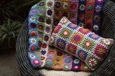 Jiajia Doll - hand crochet cushion cover pillow decorative modern retro bright colourful wool sunburst off-white border summer homedecor on Etsy, $49.00
