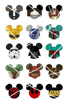 "Various Star Wars character inspired Mickey head DIGITAL Bottle Cap image sheet 4x6 1"" inch  DIY"