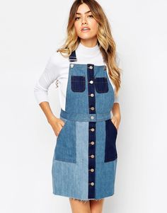 Buy ASOS Denim Patchwork Mini Pinafore Dress at ASOS. With free delivery and return options (Ts&Cs apply), online shopping has never been so easy. Patchwork Jeans, Patchwork Dress, Midi Pinafore Dress, Blue Denim Shirt, Denim Pants, All Jeans, Types Of Skirts, Casual Street Style, Models