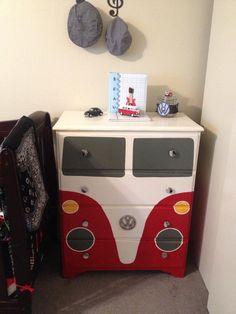 Cool VW bus painted dresser!