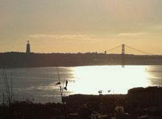 Tagus River - taken from the St. Jorge Castillo courtyard in Lisbon, Portugal.
