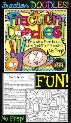 Fraction Doodles is a fun, no prep activity that helps students explore fractions of a set! Students represent fractions as they color and add creative details to doodle collages. 3rd Grade Fractions, Teaching Fractions, Second Grade Math, Math Fractions, 4th Grade Math, Teaching Math, Equivalent Fractions, Grade 3, Dividing Fractions