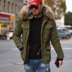 "STREETSTYLE HEROS Austrian Fashion Icon @philippegazarstyle rocks the streets in his #WeLoveFurs army-jacket ""Capo"". Legendary! #MensParka #parka #fur"